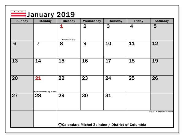 Calendar District of Columbia, January 2019