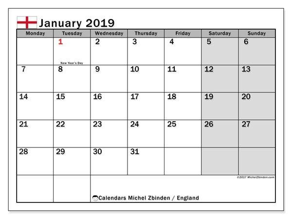 Calendar January 2019, with the holidays of England. Monthly planner to print free.