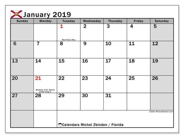January 2019 Calendar  - Florida. Printable calendar: official holidays.