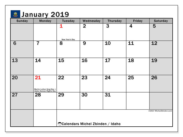 Calendar January 2019, with the holidays of Idaho. Monthly calendar to print free.