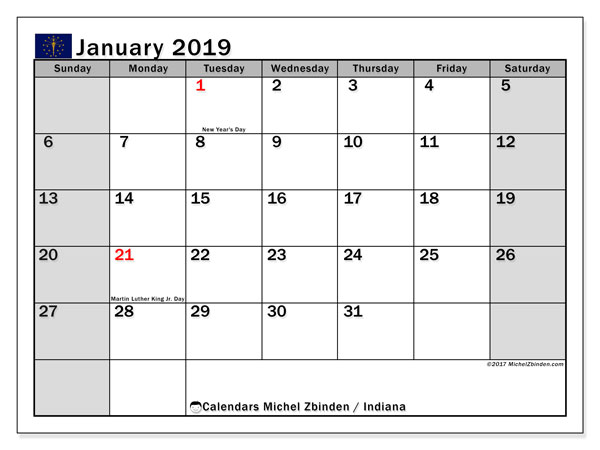 January 2019 Calendar, with the holidays of Indiana. Holidays calendar to print free.