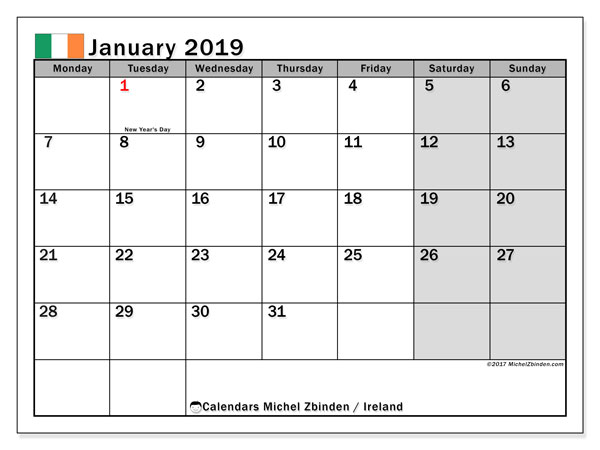 calendar january 2019 with the holidays of ireland free printable bullet journal
