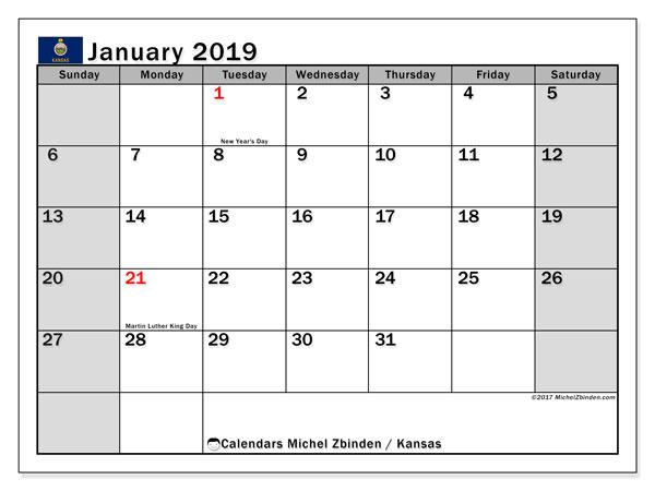 Printable Calendar Ks : Calendar january kansas