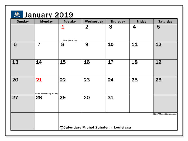 Calendar January 2019, with the holidays of Louisiana. Calendar to print free.