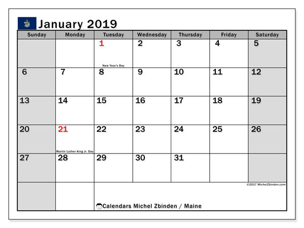 Calendar January 2019, with the holidays of Maine. Free printable planner.