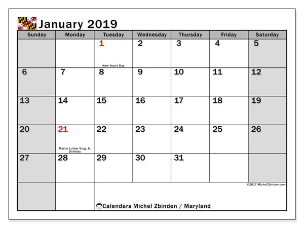 Calendar Maryland, January 2019