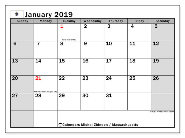 Calendar Massachusetts, January 2019