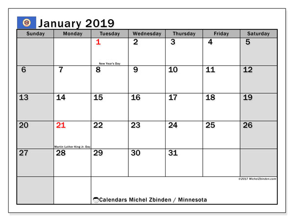 Calendar Minnesota, January 2019