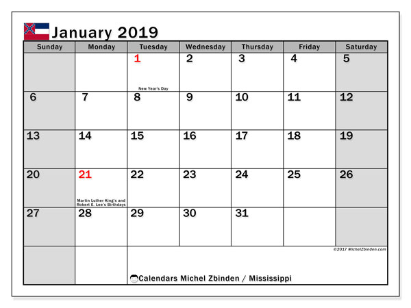 Calendar January 2019, with the holidays of Mississippi. Free planner to print.