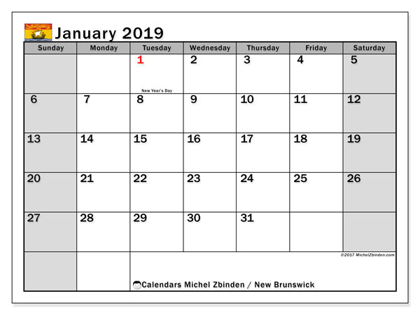 Calendar January 2019, with the holidays of New Brunswick. Calendar for the month to print free.