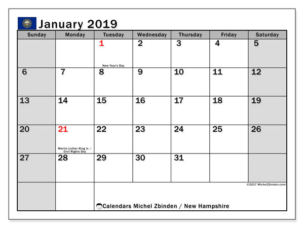 Calendar New Hampshire, January 2019