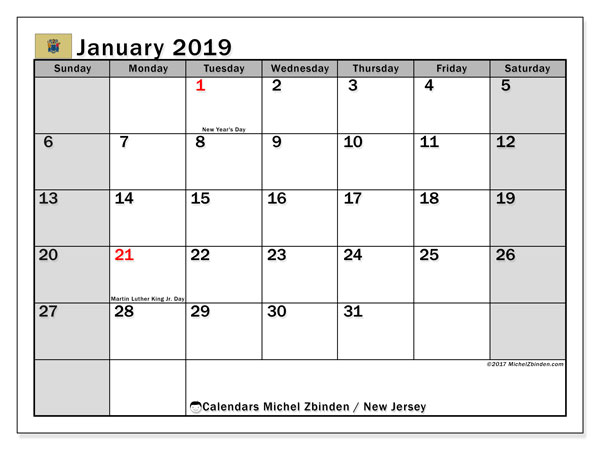 Calendar January 2019, with the holidays of New Jersey. Calendar for the month to print free.