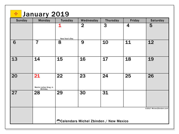 Calendar New Mexico, January 2019