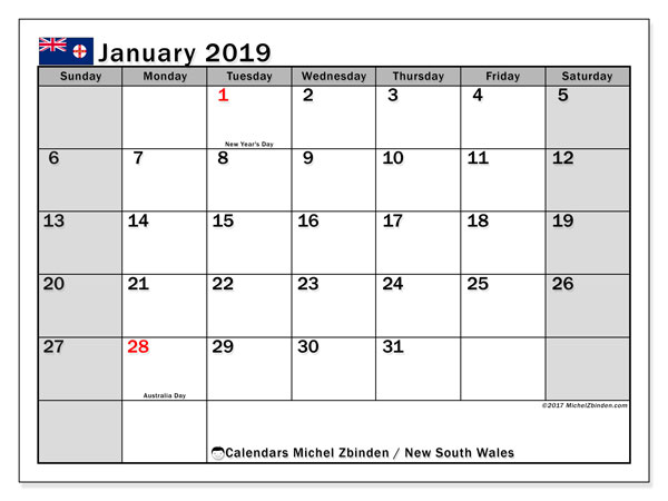 Calendar January 2019, with the holidays of New South Wales. Calendar to print free.