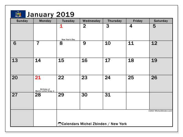 Calendar New York, January 2019