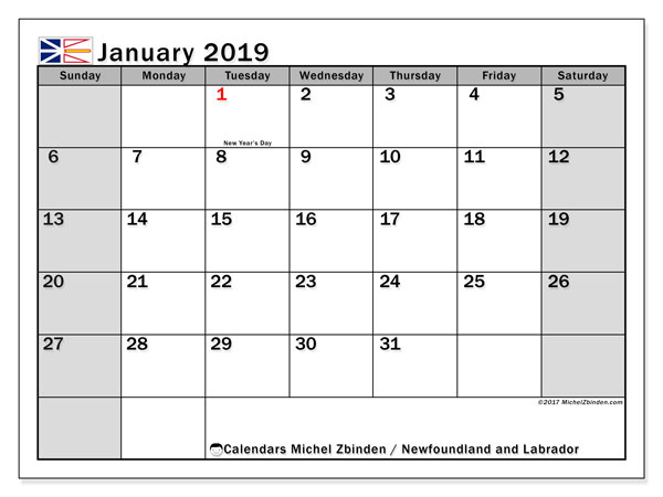 Calendar January 2019, with the holidays of Newfoundland and Labrador. Free calendar to print.