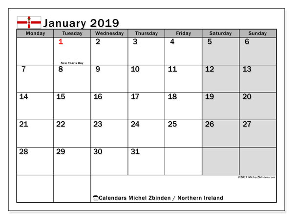 Calendar January 2019, with the holidays in Northern Ireland. Free printable calendar.