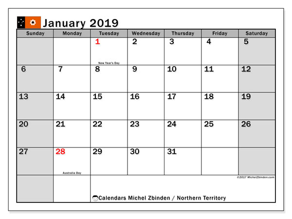 Calendar January 2019, with the holidays of Northern Territory. Planner to print free.
