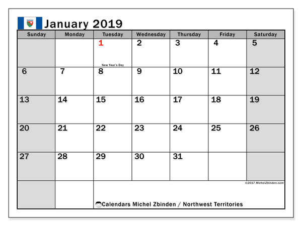 Calendar January 2019, with the holidays of Northwest Territories. Free bullet journal to print.