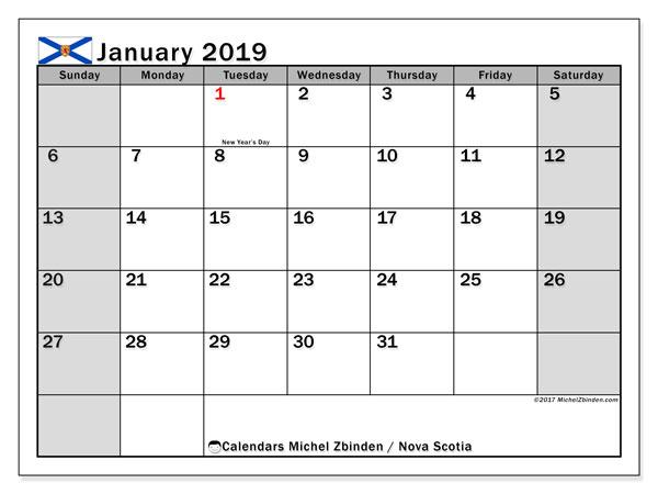 Calendar January 2019, with the holidays of Nova Scotia. Free printable bullet journal.