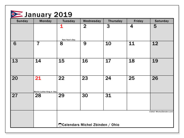 Calendar January 2019, with the holidays of Ohio. Free printable monthly planner.