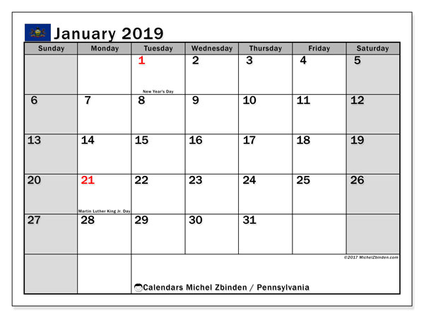 Calendar Pennsylvania, January 2019