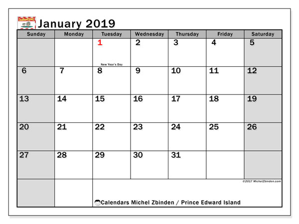 Calendar January 2019, with the holidays of Prince Edward Island. Free calendar to print.