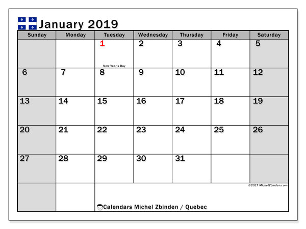 Calendar January 2019, with the holidays of Quebec. Monthly planner to print free.