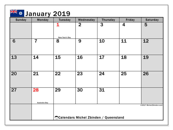 Calendar January 2019, with the holidays of Queensland. Free printable calendar.