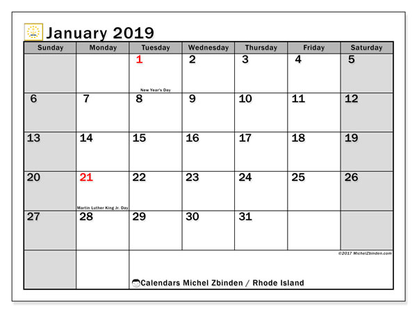 January 2019 Calendar, with the holidays of Rhode Island. Holidays calendar to print free.