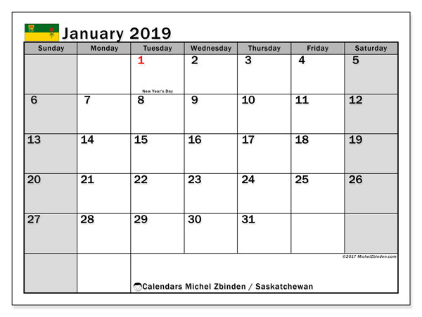 Calendar January 2019, with the holidays of Saskatchewan. Monthly calendar to print free.