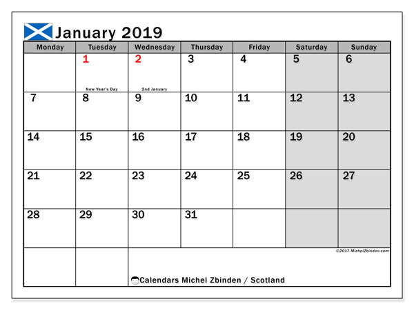Calendar January 2019, with the holidays of Scotland. Free printable monthly planner.