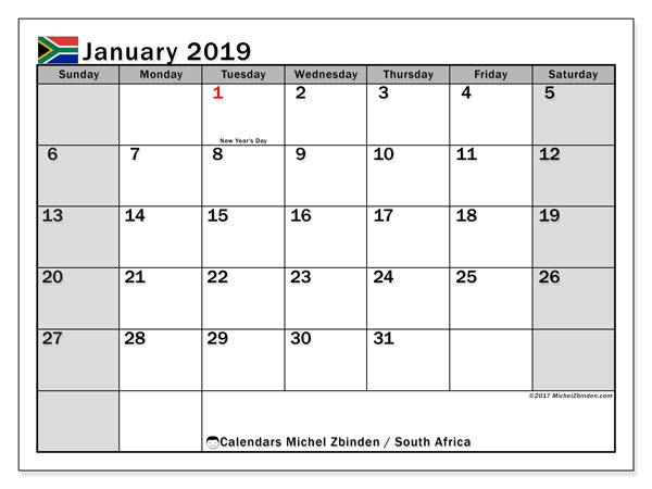 calendar january 2019 with the holidays of south africa bullet journal to print free