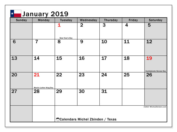 Calendar January 2019, with the holidays of Texas. Free printable planner.