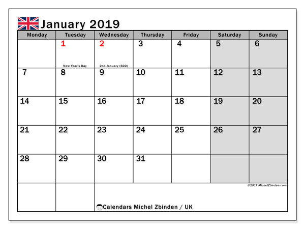 Calendar January 2019 Uk Michel Zbinden En