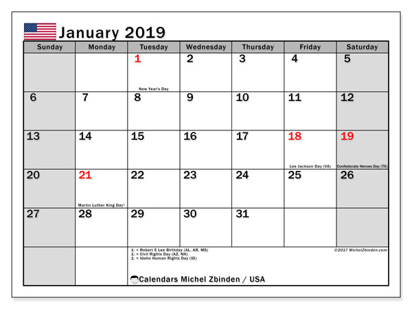 January 2019 Calendar, with the holidays of the USA. Holidays calendar to print free.