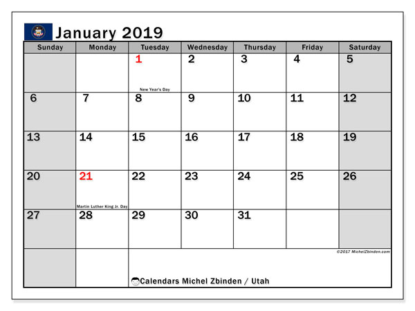 Calendar January 2019, with the holidays of Utah. Free printable monthly calendar.