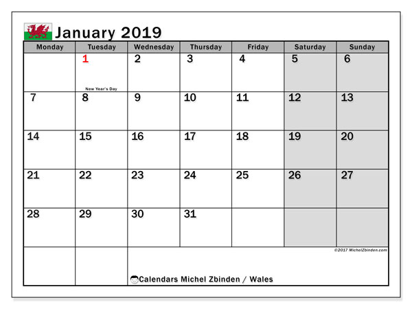 Calendar January 2019, with the holidays of Wales. Free printable monthly calendar.