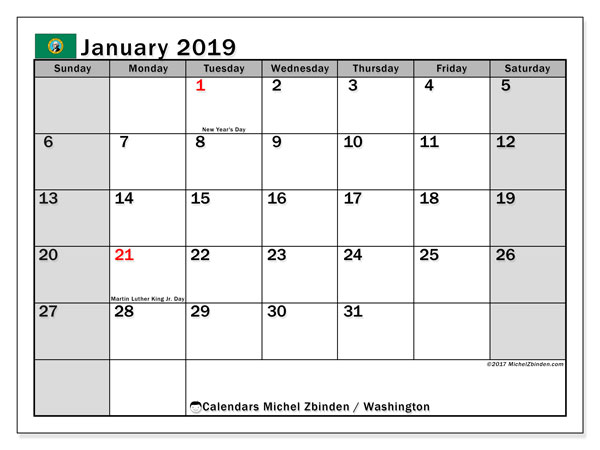 Calendar Washington, January 2019