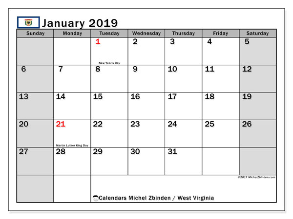 Calendar West Virginia, January 2019