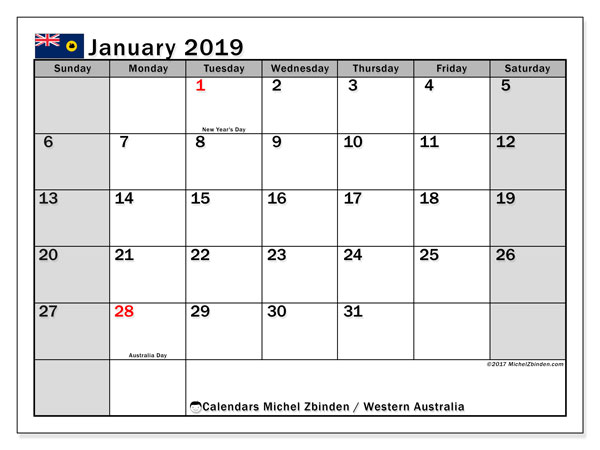 Calendars January 2019, public holidays Australia - Michel ...