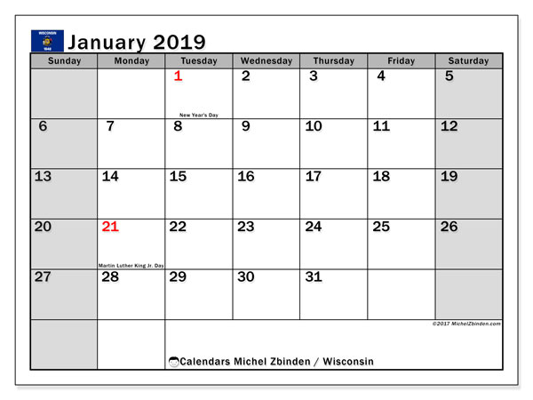 January 2019 Calendar, with the holidays of Wisconsin. Free printable calendar with public holidays.
