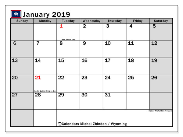 Calendar January 2019, with the holidays of Wyoming. Bullet journal to print free.