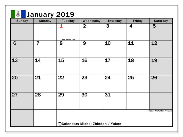 Calendar January 2019, with the holidays of Yukon. Planner to print free.