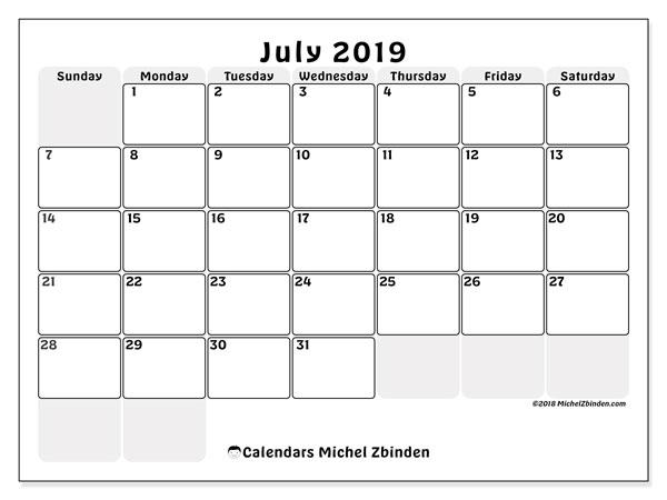 July 2019 Calendar, 44SS. Free calendar to print.