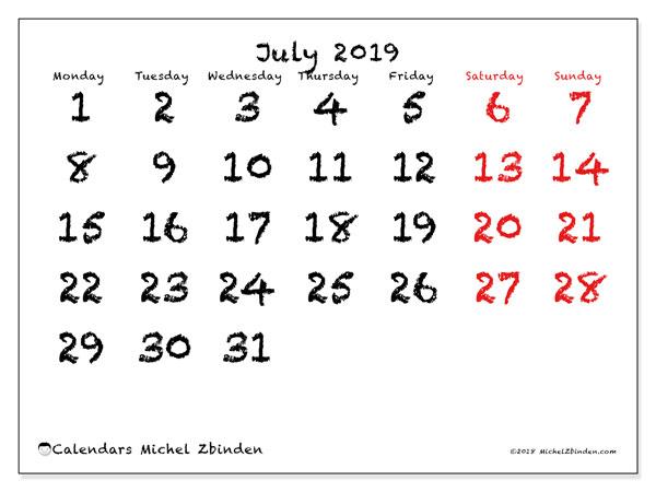 Calendar  July 2019, 46MS