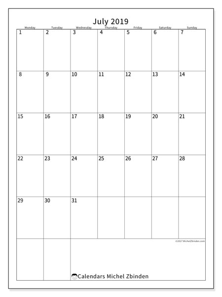 July 2019 Calendar, 52MS. Monthly calendar to print free.