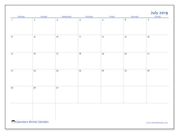 Calendar  July 2019, 55MS