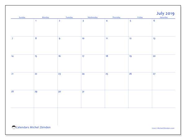 Calendar  July 2019, 55SS