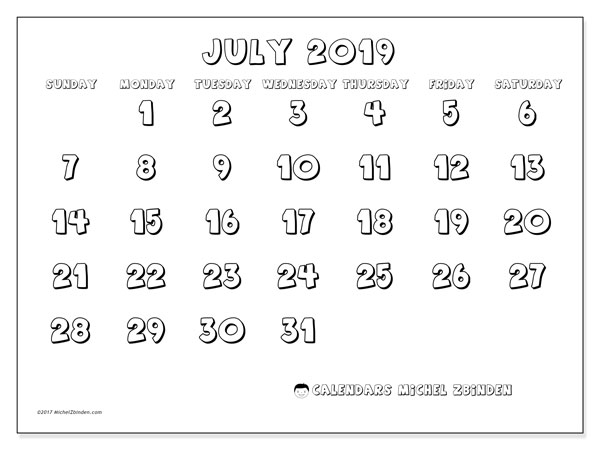 Calendar  July 2019, 56SS
